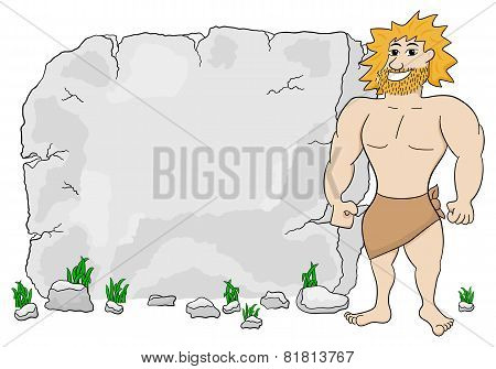 Cave Man In Front Of Stone Tablet With Copy Space