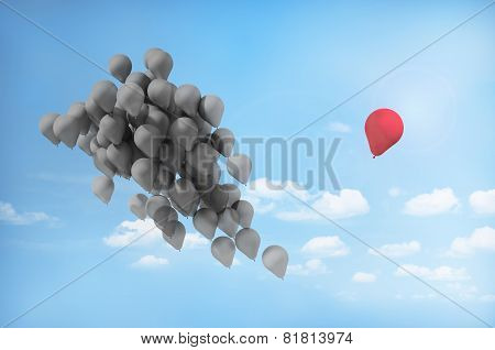 Concept Of Separations. One Balloon Is Separated From The Group. The Desire To Change Lives.