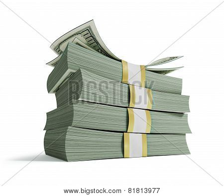 Stacks Of Hundred Us Dollars.