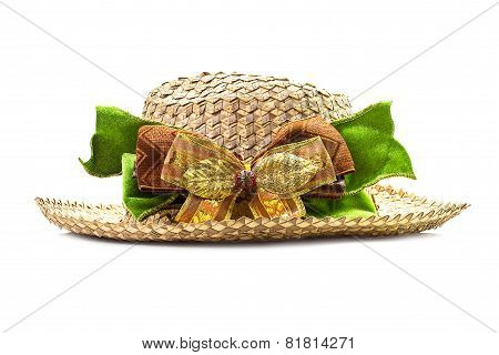 Basketwork Hat With Bow
