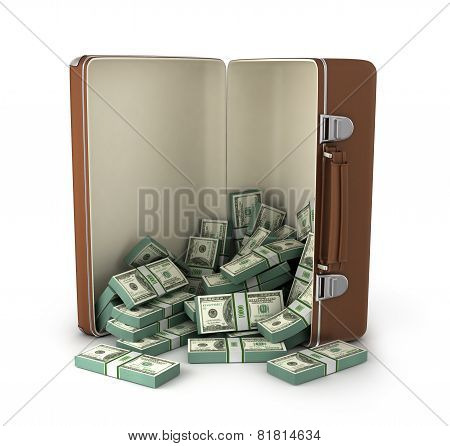 case full of dollar on white background