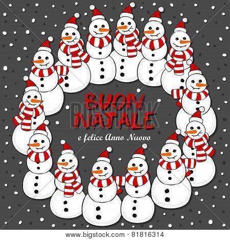 Happy snowmen wreath Christmas illustration with Merry Christmas in Italian on dark