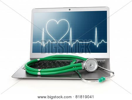 Laptop With Heart Rhythm Ekg On Screen
