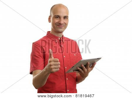 Bald Man With Digital Tablet Computer Showing Thumbs Up