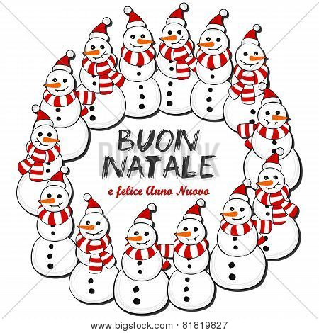 Happy snowmen wreath Christmas illustration with Merry Christmas in Italian on white