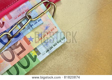 Banknotes In A Red Wallet