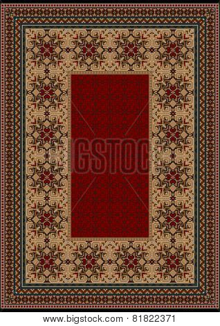 Luxury carpet with a burgundy pattern against the background brown shades