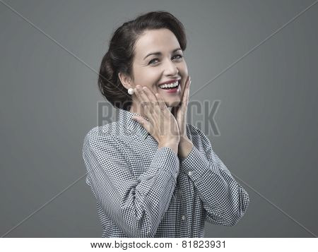 Cheerful 1950S Woman Feeling Awesome