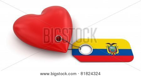 Heart with Ecuadorian flag (clipping path included)