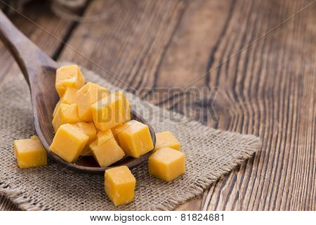 Cheddar On A Wooden Spoon
