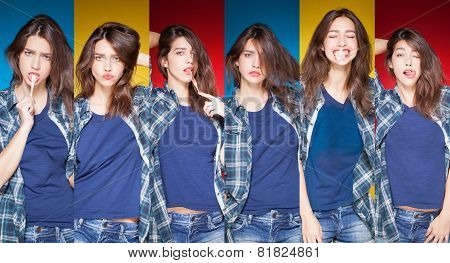 beauty collage, young beautiful girl posing grimacing with chewing gum