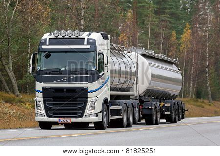 White Volvo FH Tank Truck On The Road