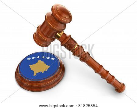 Wooden Mallet and Kosovo flag (clipping path included)