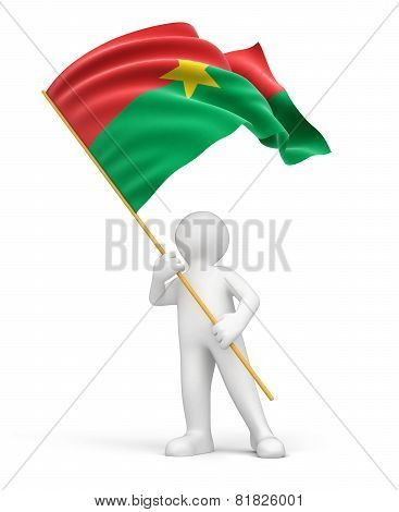 Man and Burkina Faso flag (clipping path included)