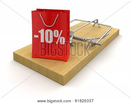 Mousetrap and bag with Percentage Sign (clipping path included)