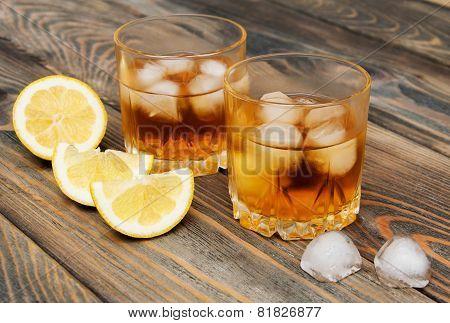 Scotch On Wooden Background