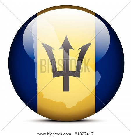 Map On Flag Button Of Barbados