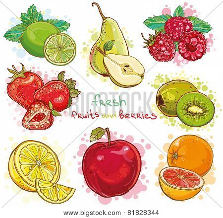 Vector Set With Fresh Fruits And Berries