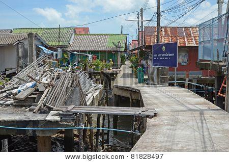 Phang Nga Bay,Th-Sept,20 2014:Housing on piles. Sea Gypsy Village Koh Panyee in the Andaman Sea, Th