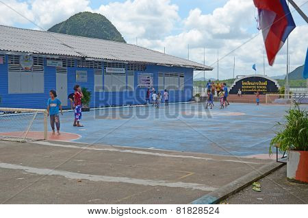 Koh Panyee,TH-Sept,20 2014:School and playground in Floating Village of Sea Gypsies in Thailand