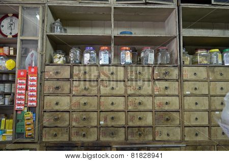 Phuket,TH-Sept,22 2014:Containers with dried herbs in The Oldest Herbs Shop in the Old Town.Phuket