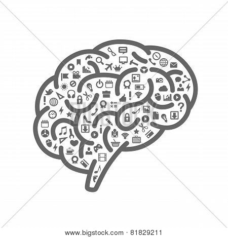 Silhouette of the brain with icons