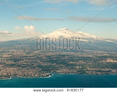 Aerial View Of Volcano Etna