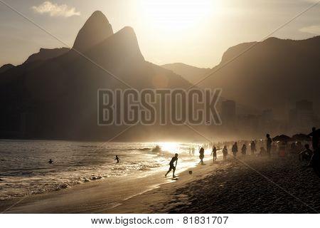 Rio de Janeiro beach sunset silhouettes
