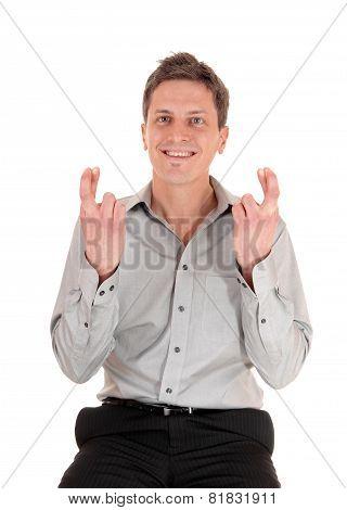 Man Crossing Fingers