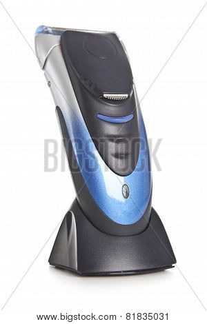 Electric Razor On White Background, Close Up.