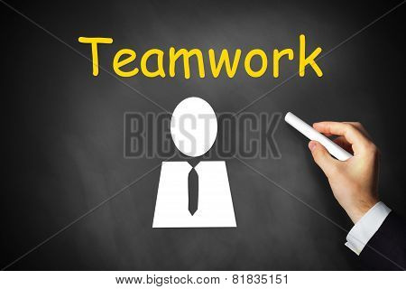 Hand Writing Teamwork On Chalkboard Employee Symbol