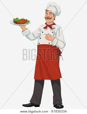chef with cooked grill ribs
