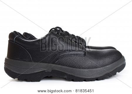 Black Work Boots  On White Background