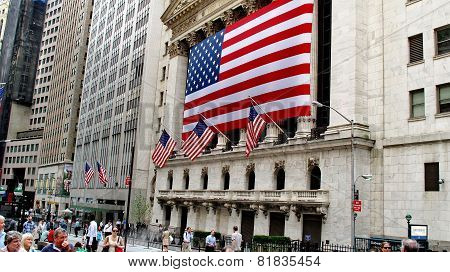 New York Stock Exchange Located On Wall Street At The Financial District In Lower Manhattan