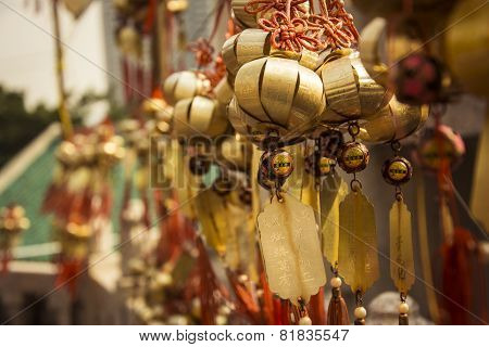 Chinese Wishes Amulets Hanging On The Wall In Buddhist Temple