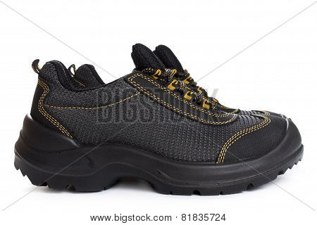 Black Working Boots With Yellow Thread On White