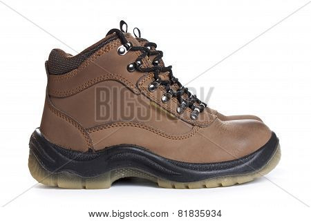 New Brown Working Boots On A White Background.