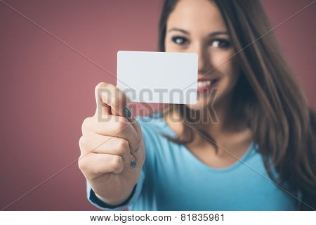 Smiling Girl With Business Card