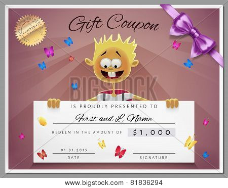 Gift Certificate Template As Coupon With Smile Boy In Vector