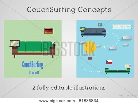Set of Couch surfing concept. Travel infographic. Share your sofa. 2015. Travel all over the world f