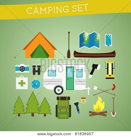 Bright cartoon camping equipment icon set in vector. Recreation, vacation and sport symbols. Flat de