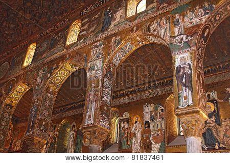 Golden Mosaic In Cappella Palatina