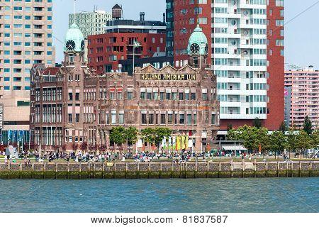 Rotterdams Kop Van Zuid With Wilhelminapier And Hotel New York
