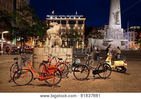 Dam Square Of Amsterdam At Night