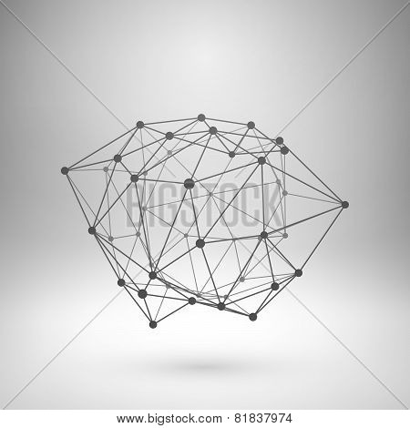 Wireframe mesh polygonal abstract form.