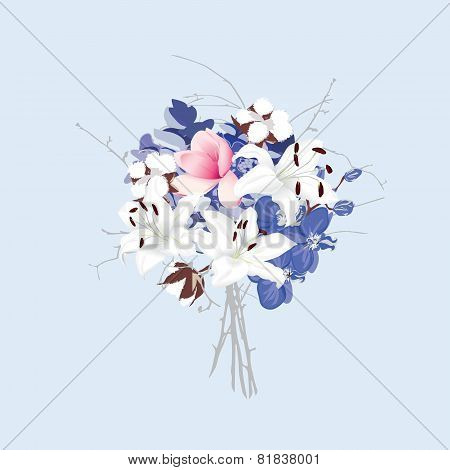 Violet and silver seamless vector bunch of flowers