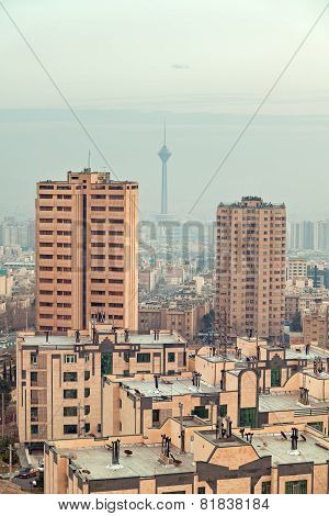 Milad Tower Between Two Skyscrapers In The Skyline Of Tehran