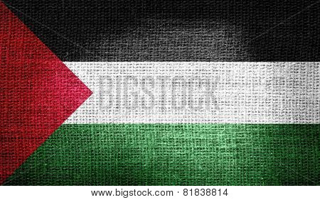 Palestine flag on burlap fabric