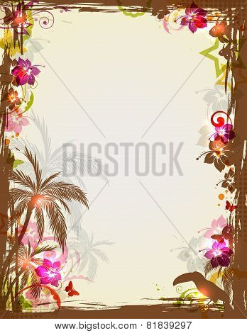 Tropical Frame With Palms And Toucan