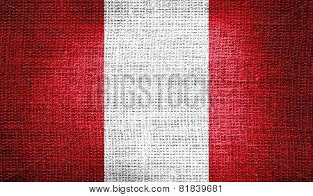 Peru flag on burlap fabric